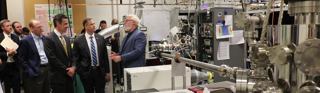 Photo of NASA Administrator Jim Bridenstine touring the REVEALS Lab