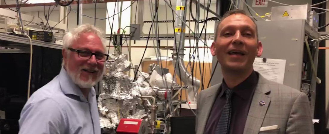 Photo of NASA's Thomas Zurbuchen and REVEALS PI Thomas Orlando in the REVEALS Lab
