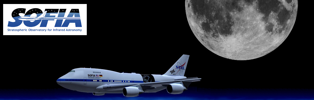 Images of the Moon with the SOFIA aircraft and logo
