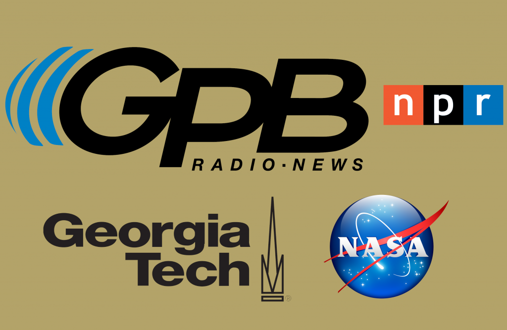 Combined logos of Georgia Public Broadcasting, Georgia tech, and NASA