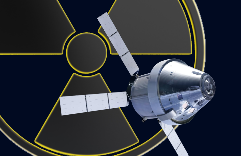 Image of a space capsule over the symbol for radiation