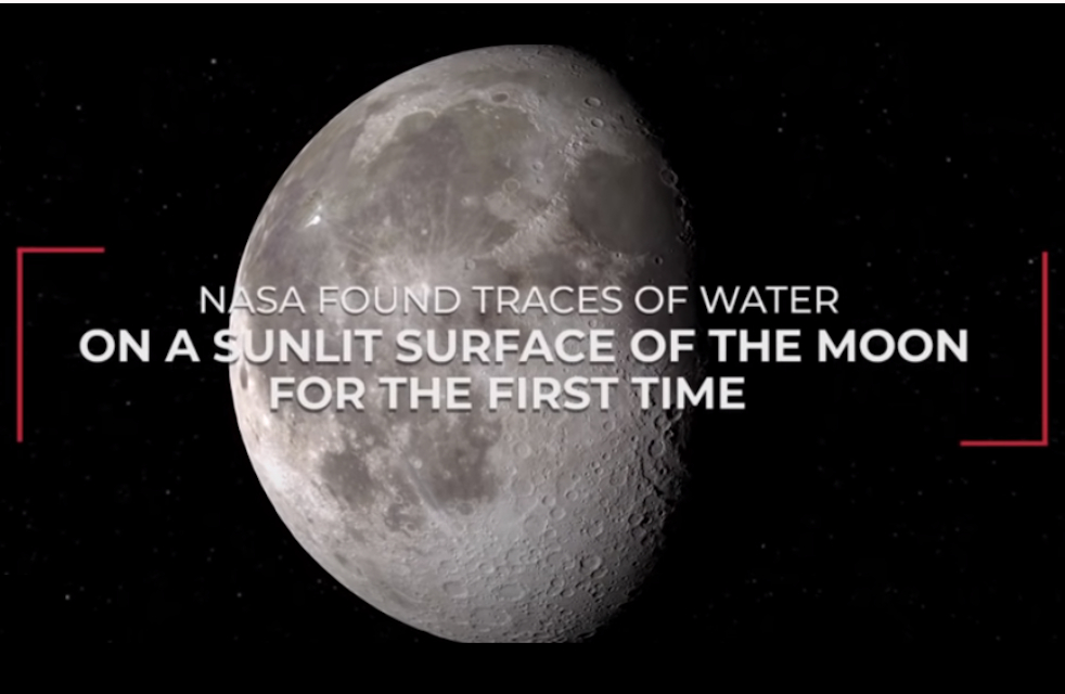 Picture of the Earth's Moon with text: NASA Found Traces of Water on a Sunlit Surface of the Moon for the First Time